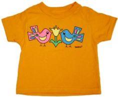 "Our latest shirt for spring ""For the Birds""-$24, tangerine, short sleeve.  go to www.kademi.com"