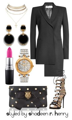 """Negro jefa"" by shadeenie on Polyvore featuring Off-White, Giuseppe Zanotti, Versace, Gucci, MAC Cosmetics and Charlotte Russe"