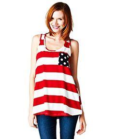 Womens USA American Flag July 4th Patriotic Polka Dot Stripe Tank Top or T-shirt (Large, Patriotic Tank Top) Zoozie LA http://www.amazon.com/dp/B00KF3B1S2/ref=cm_sw_r_pi_dp_o8IDvb1HF236D