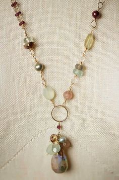 Golden necklace with pearls  Long bohemian bead necklace with feather  boho sautoire pink  pearl statement necklace