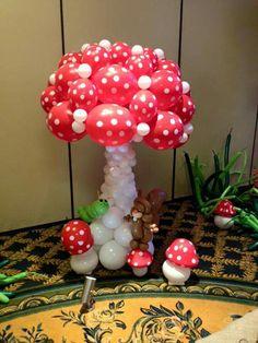 Balloon Columns, Balloon Arch, Balloon Decorations, Birthday Decorations, Deco Ballon, Balloon Basket, Mushroom Decor, Large Mushroom, Qualatex Balloons