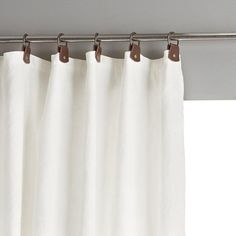 Private Single Pre-Washed Linen Curtain with Leather Tabs AM.PM Private pre-washed linen curtain with leather tabs. Simple, natural and chic, pre-washed linen softens and takes on a subtle and highly attractive. Plain Curtains, Blue Curtains, Lined Curtains, Blackout Curtains, Neutral Curtains, Cortinas Boho, Window Sizes, Custom Drapes, Window Dressings