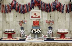 Partyscape from Western Themed Cub Scout Blue & Gold Banquet at Kara's Party Ideas. See more at karaspartyideas.com!