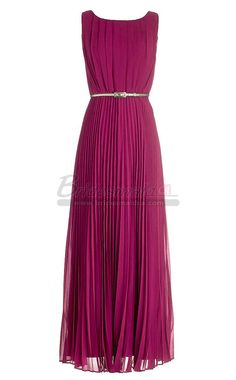 #bridesmaiddresses Bateau Neckline Long Chiffon Red Bridesmaid Dress BDS-CA351
