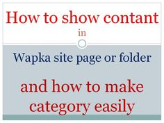 How to Show Videos in Wapka Site Page / Folder make category easily