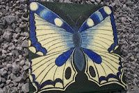 Blue and Yellow Butterfly Stepping Stone jgbaswell
