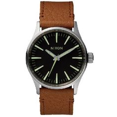 Nixon Mens Nixon The Sentry 38 Leather Watch - Black Movement: Miyota Japanese quartz 3 hand movement