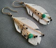 Feather Earring/ Leather Feather Earring/ Gemstone Feather Earring/ White Feather Gold Chain.