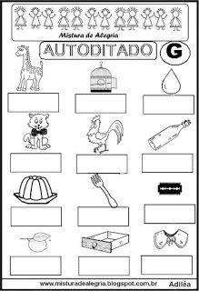 Autoditado para alfabetização com a letra G