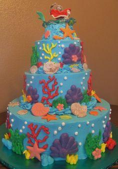 Como Hacer Un Pastel De Sirenita/ Little Mermaid Cake Muy Facil!!