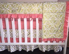 Gold Damask Crib Bedding Bumperless Gold and by RitzyBabyOriginal