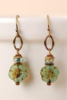 RC016E Unique handcrafted designer artisan simple czech glass antique brass flower dangle earrings for women #homemaderings