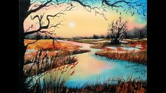 Frosty Fall Landscape - Today we dive deep into color mixing and composition as we create a landscape in 3 colors. We will sketch the landscap...