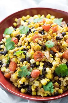 Mexican Corn and Black Bean Salad is a super easy and refreshing summer salad full of black beans, corn, and tomatoes! This black bean and corn salad comes together in a snap and has the most flavorful chili lime and garlic dressing! Mexican Bean Salad, Mexican Salads, Mexican Corn, Mexican Food Recipes, Mexican Cooking, 21 Day Fix, Salad Recipes, Healthy Recipes, Drink Recipes