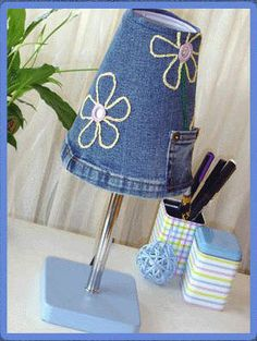 Lampshade made from jeans.     Gloucestershire Resource Centre http://www.grcltd.org/scrapstore/