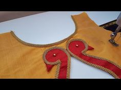 Boat neck blouse gala design cutting and stitching /blouse designs Patch Work Blouse Designs, Simple Blouse Designs, Stylish Blouse Design, Stylish Dress Designs, Bridal Blouse Designs, Chudidhar Neck Designs, Blouse Neck Designs, Gala Design, My Collection