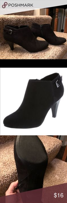 """NWOT. Comfort Plus by Predictions ankle boots. NWOT w/ box. Comfort Plus by Predictions Sonya ankle boots w/ box. Black faux suede. 3"""" heel. Same boot in gray (NWT and box) offered in separate listing. Make an offer on both! Comfort Plus by Predictions Shoes Ankle Boots & Booties"""
