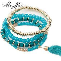 Charm Bohemian Bracelets for Women Pulseras Mujer Fashion Multilayer Wrap Bead Strand Bracelets Bangles for Women Jewelry 2017