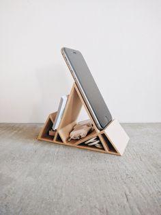 Dock / Stand en bois minimaliste géométrique pour iPhone 6 6s 6Plus 7 7Plus Smartphone Cartes de visite Organisateur de bureau