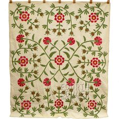 1853 Pomegranate Love Apple Masterpiece Antique Quilt 9 13SPI Signed Dated $2025.00