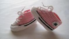 Converse Style/Chucks Baby Booties  Pale Pink by BabyJaneKnits