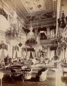 Interior of Chowmahlia Palace; Lala Deen Dayal (Indian, 1844 - 1905); India; 1888; Gelatin silver print; 27 x 21 cm (10 5/8 x 8 1/4 in.); 2008.78.7; Gift in memory of Marie McNabola and Irene Peters; J. Paul Getty Museum, Los Angeles, California