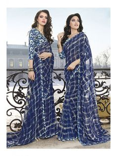 Sparkling Navy Blue Party Wear Printed Saree
