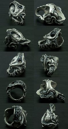 Lunatic Nights: Dual Flow [Octopus Ring] (silver accessory / / ring ) - Purchase now to accumulate reedemable points! Skull Jewelry, Gothic Jewelry, Jewelry Rings, Jewelery, Silver Jewelry, Silver Rings, Fine Jewelry, Gold Jewellery, Octopus Ring