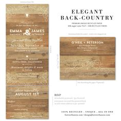 Wood Vintage Wedding Invitations in our unique All in One format just for you! Wedding Invitation Maker, Country Wedding Invitations, Elegant Wedding Invitations, Rustic Wedding Reception, Woodsy Wedding, Wedding Guest Book, Fall Wedding, Wedding Events, Bridal Shower Planning