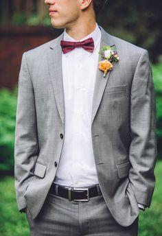 Grey suit, maroon bowtie, pop of orange // Erin L. Taylor Photography
