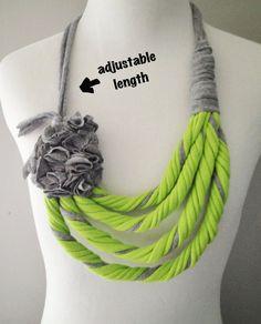 Vert citron & gris Tshirt collier écharpe Infinity par embelLUSHme