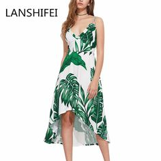 Palm Leaf Print Women Summer Dress Sexy Deep V Neck Spaghetti Strap  Backless Asymmetrical Mid Calf Dress Ladies Holiday vestido a94a4d2eb3b6