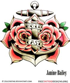 Traditional Rose anchor tattoo