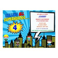 Super Hero Birthday Invitations   Comic Book