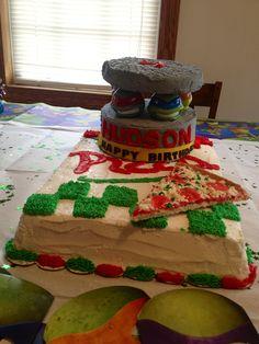 TMNT teenage mutant ninja turtle cake for little kid's birthday party! Cute!