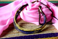 Casual Rainbow Necklace Cotton Wax Cord by gendhis4jewelry on Etsy, $8.50