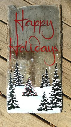 Happy Holidays slate sign – diy home decor wood Wooden Christmas Decorations, Christmas Wood Crafts, Christmas Signs Wood, Farmhouse Christmas Decor, Rustic Christmas, Christmas Art, Christmas Projects, Holiday Crafts, Christmas Holidays