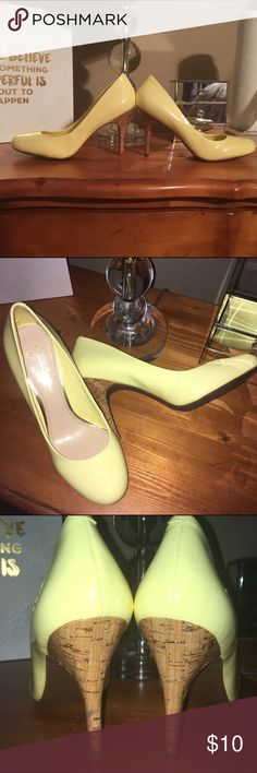 Jessica Simpson heels Gorgeous yellow pumps size 9 with cork heel.  These heels do not have the box and have only been worn on carpet in my house.  Shoes are in excellent condition. Jessica Simpson Shoes Heels