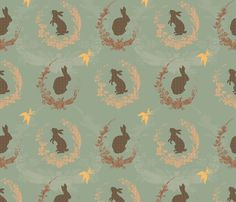 Green, yellow, pink fabric with rabbits from Spoonflower