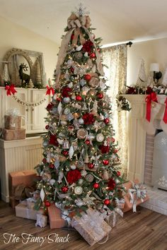The Fancy Shack: Christmas Home Tour. I love the size and width of her tree.