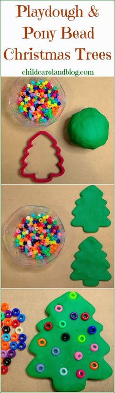 Playdough and Pony Bead Christmas Trees ... a favorite for fine motor and math…