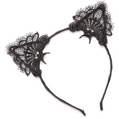 True Craft  Lace Cat Ear Headband (35 PLN) ❤ liked on Polyvore featuring accessories, hair accessories, hats, head, black, cat ears headbands, lace headbands, cat ear hairband, hair band headband and lace cat ears headband