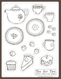 free printable tea party, if you print it on a magnetic paper, it's even more fun to play with.