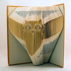 Owl Folded Book Art-Book Sculpture-Owl lover-Animal lover-booklover-Silhouette - E129