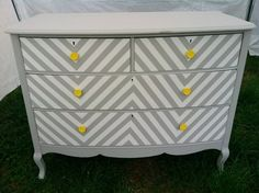 My Bedroom would love this dresser. Its all grey and yellow.