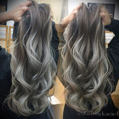 Ash blonde with silver tips #ombre #balayage