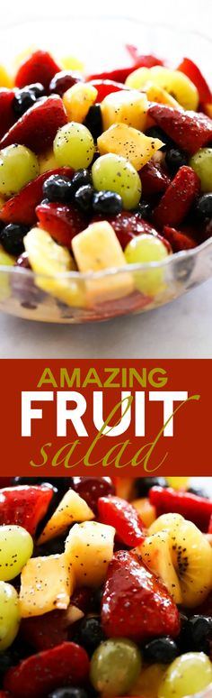 Best Ever Fruit Salad... A delicious fruit salad that has an incredible apricot poppy seed glaze! This would be a hit at any gathering!