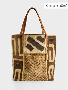Brown Lattice Mud Cloth Tote by Global Girls | DARA Artisans