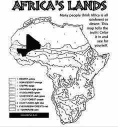 Africa Coloring Map Printable Continent Box Africa Pinterest