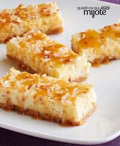 Our coconut cheesecake squares are creamy and delicious. With their graham crumb crust and drizzle of warm caramel topping, these coconut cheesecake squares are sure to be requested again…and again! Cheesecake Squares, Pecan Cheesecake, Coconut Cheesecake, Cheesecake Bites, Cheesecake Recipes, Chocolate Cheesecake, No Bake Desserts, Just Desserts, Dessert Recipes